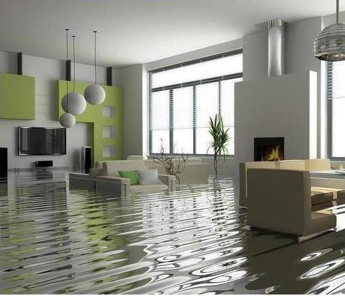 The living room consists of contemporary furniture and this area is affected by approximately 2 feet of standing water.
